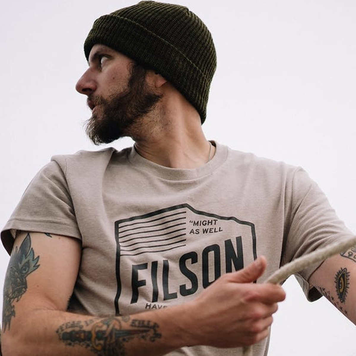 Filson Buckshot T-Shirt Sand Stone, with custom graphics designed in-house at Filson