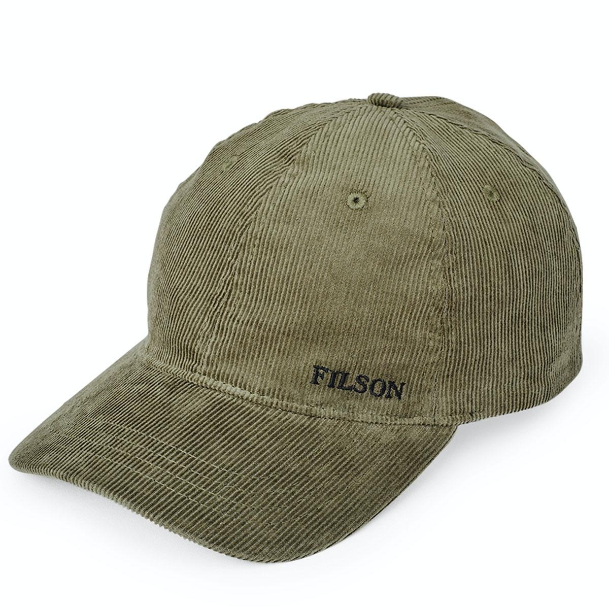 Filson Cord Low-Profile Cap Olive, corduroy cap met een laag, rond profiel