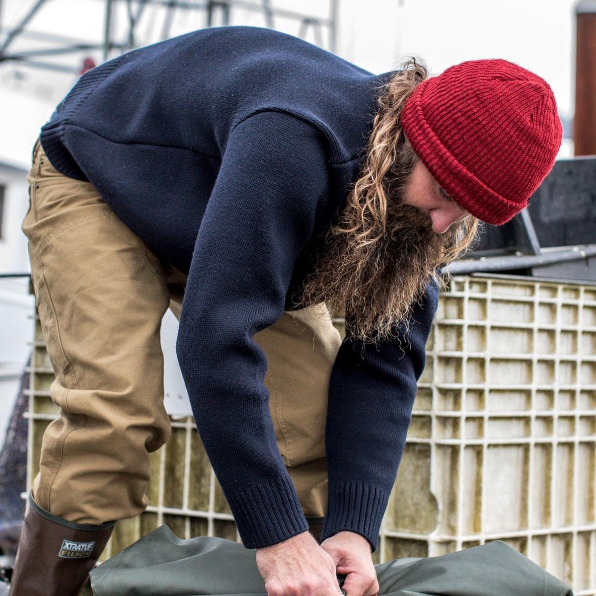 Filson Crew-Neck Guide Sweater Navy, merino wool sweater