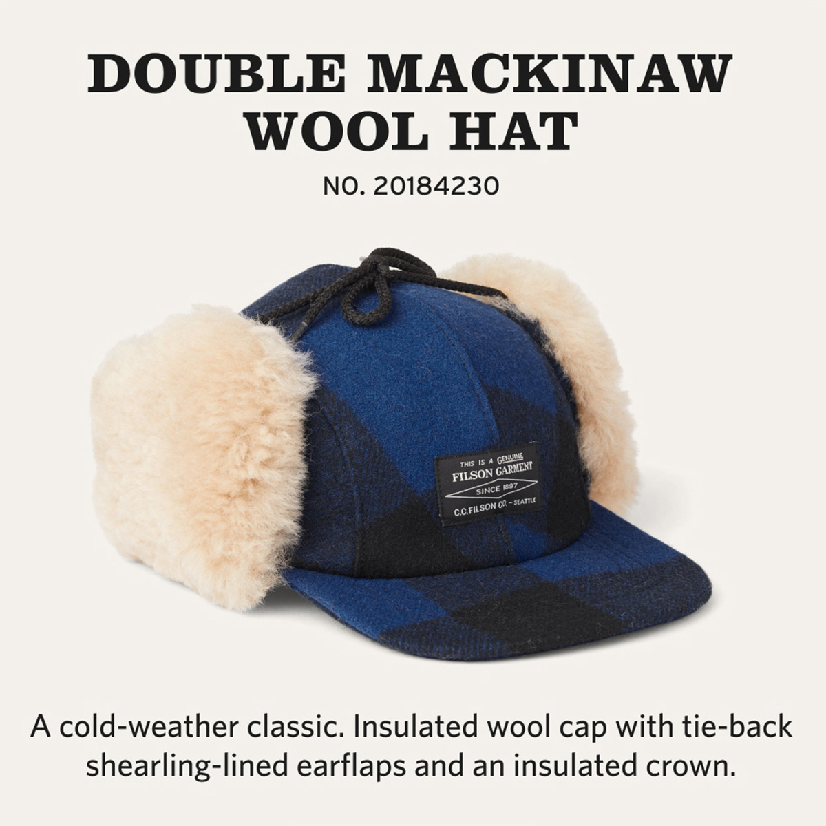 Filson Double Mackinaw Cap Cobalt Black, made of 100% virgin Mackinaw Wool for comfort, natural water-repellency and insulating warmth in any weather conditions