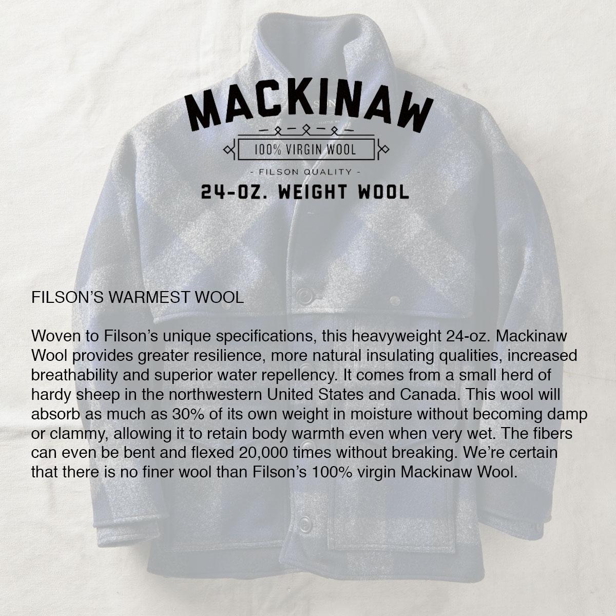 Filson Filson Double Mackinaw Cruiser Charcoal/Black/Navy, warmest wool