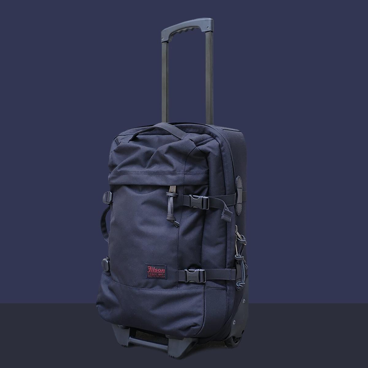 Filson Dryden Dryden 2-Wheel Rolling Carry-On Bag 20047728-Dark Navy, gemaakt van slijtvast ballistisch nylon dat bestand is tegen intensief gebruik