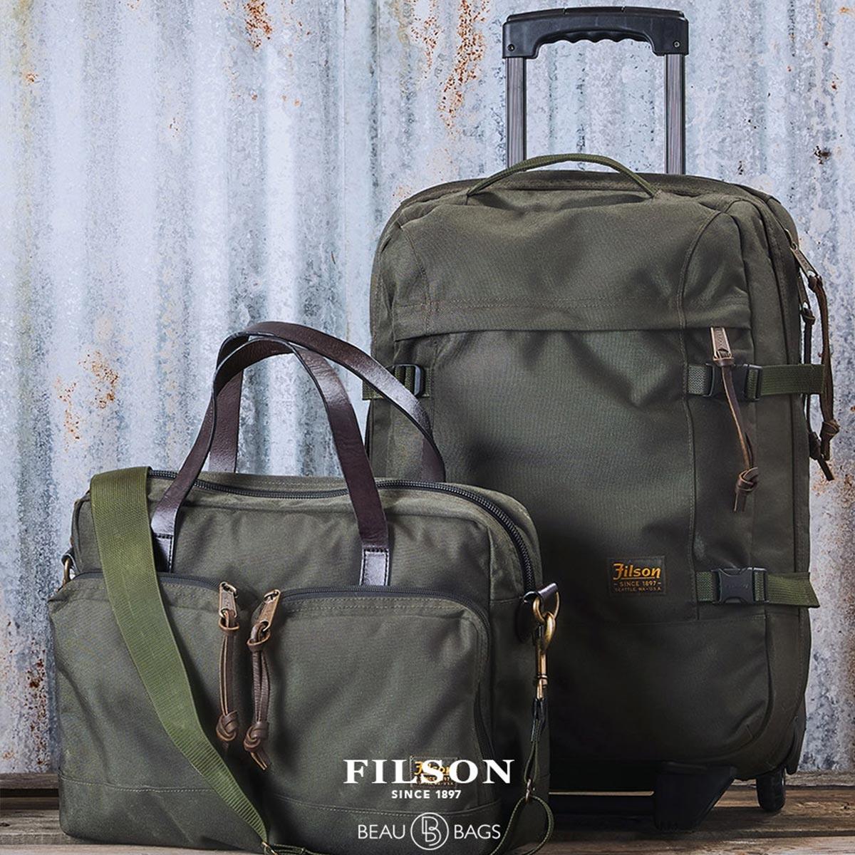 Filson Dryden Dryden 2-Wheel Rolling Carry-On Bag 20047728-Otter Green, rolkoffer gemaakt van slijtvast ballistisch nylon dat bestand is tegen intensief gebruik