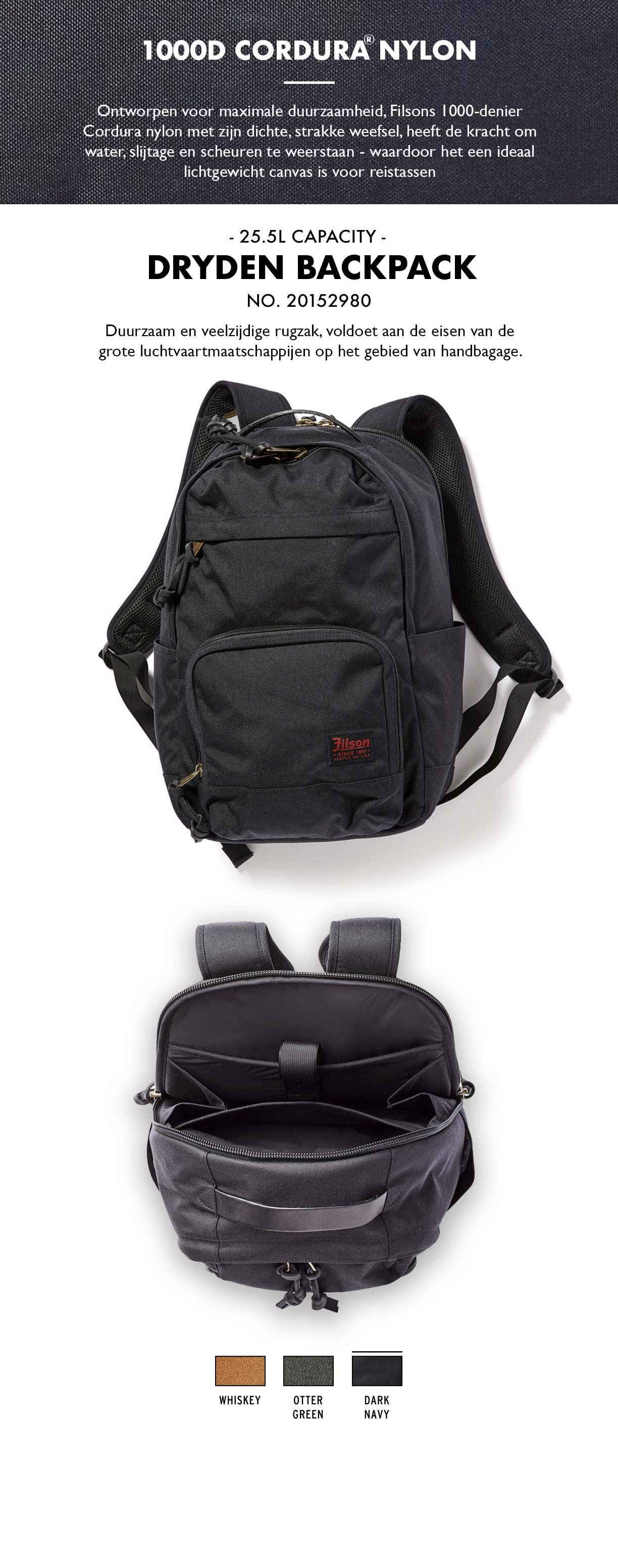 Filson Dryden Backpack Dark Navy Product-informatie