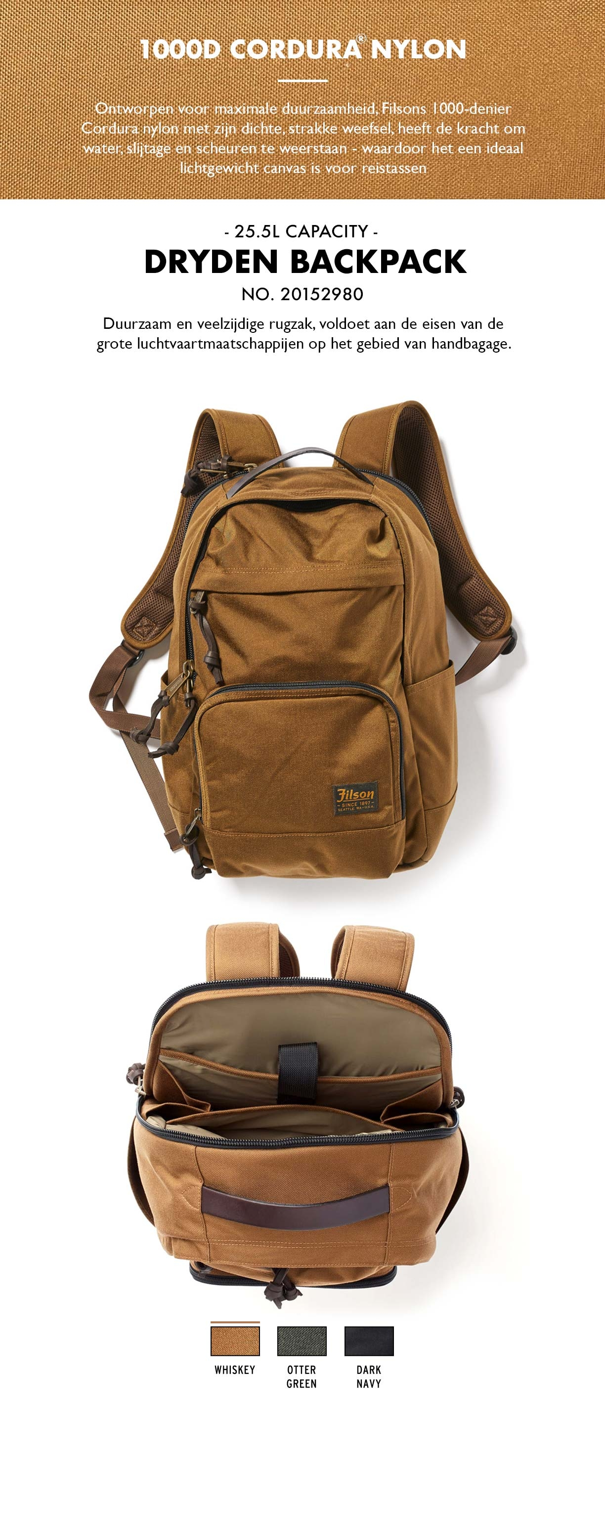Filson Dryden Backpack Whiskey Product-informatie