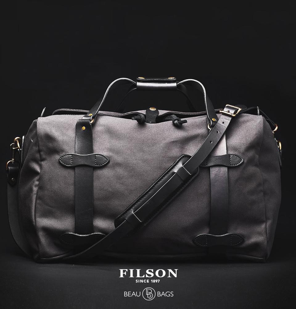 Filson Duffle Medium Cinder, stoere duffel die voldoet aan de maximale handbagage afmetingen
