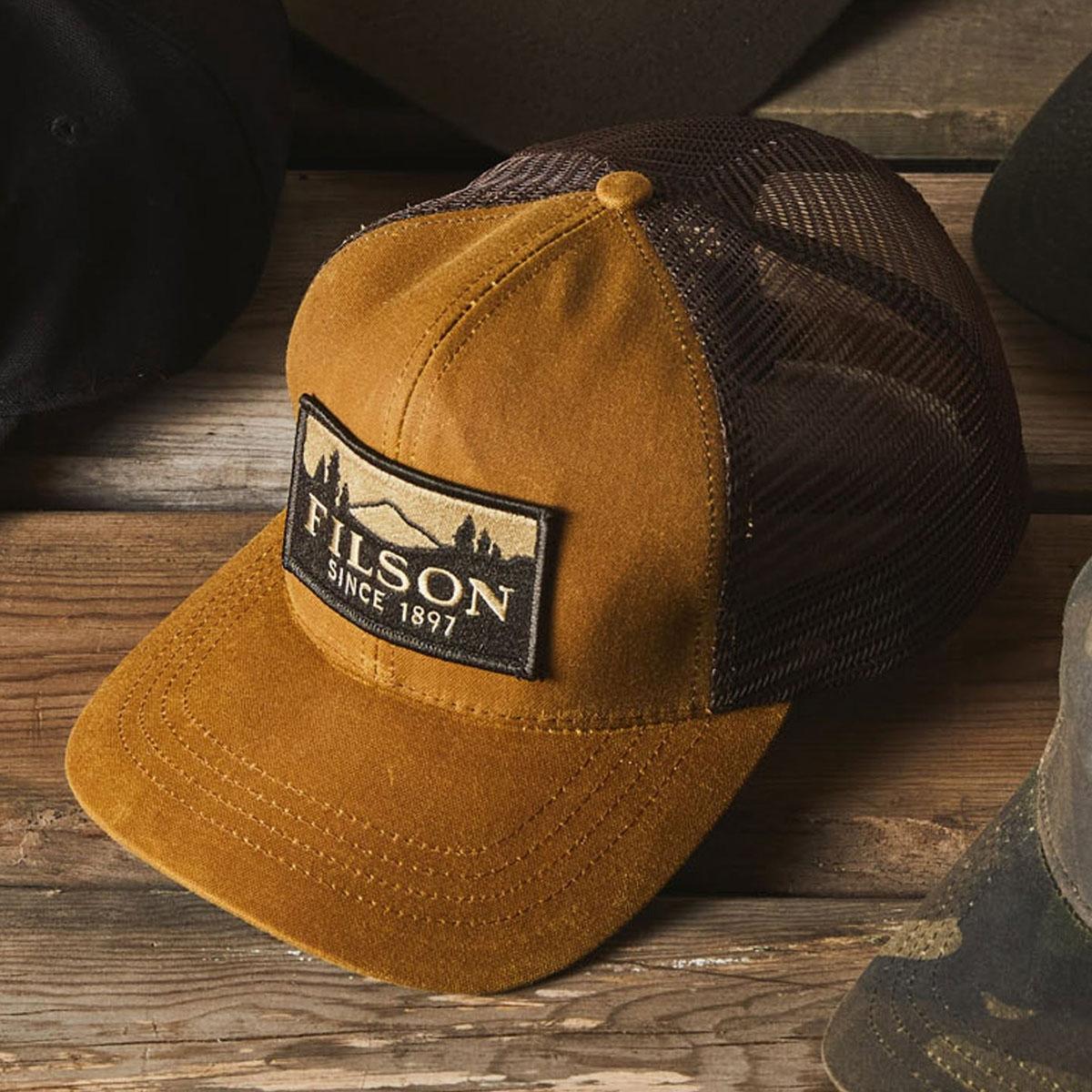 Filson Logger Mesh Cap 11030237-Dark Tan, duurzame pet gemaakt van iconisch, waterafstotende Tin Cloth,