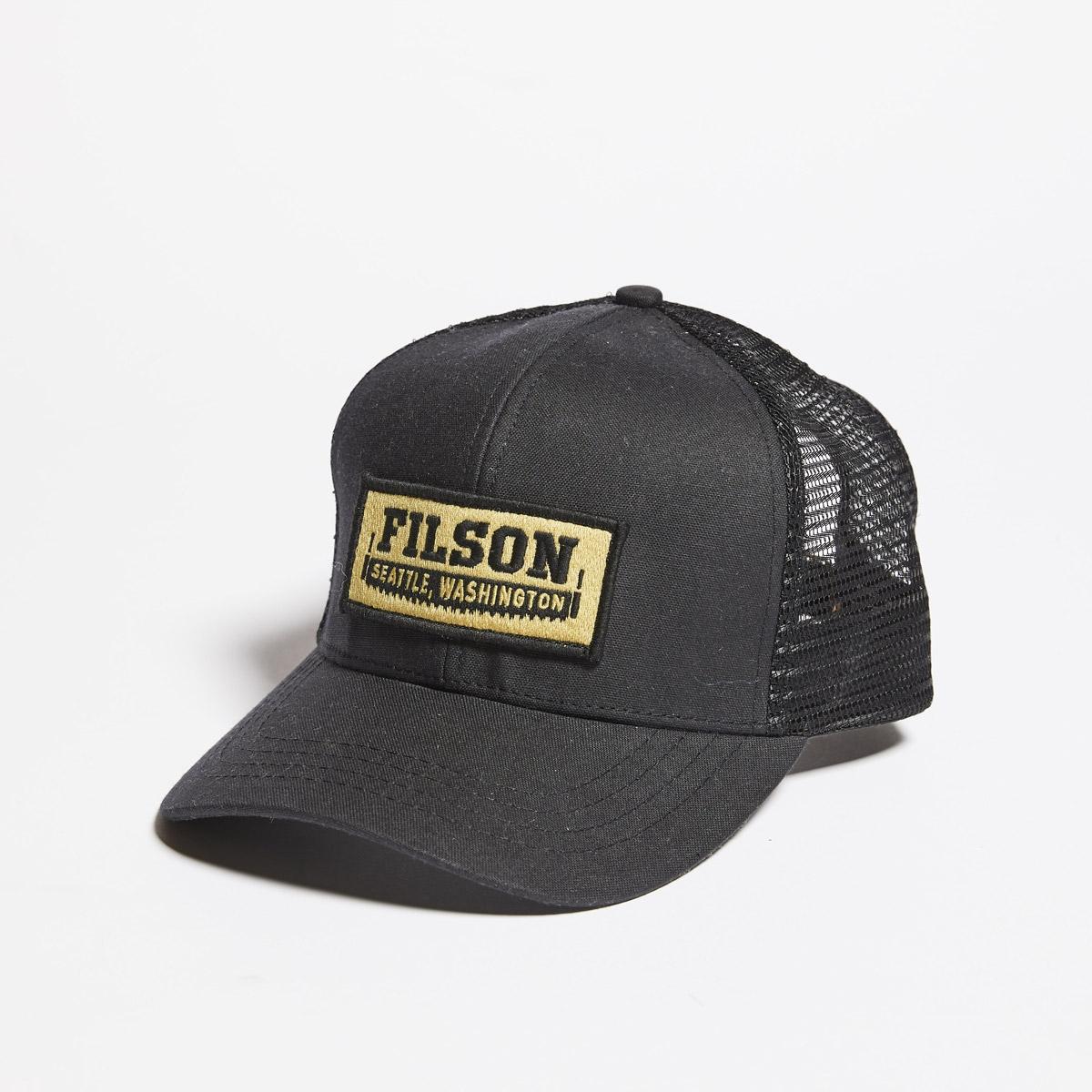 Filson Mesh Logger Cap 20157135-Black, slijtvaste pet met geborduurd Filson logo patch en mesh-bescherming