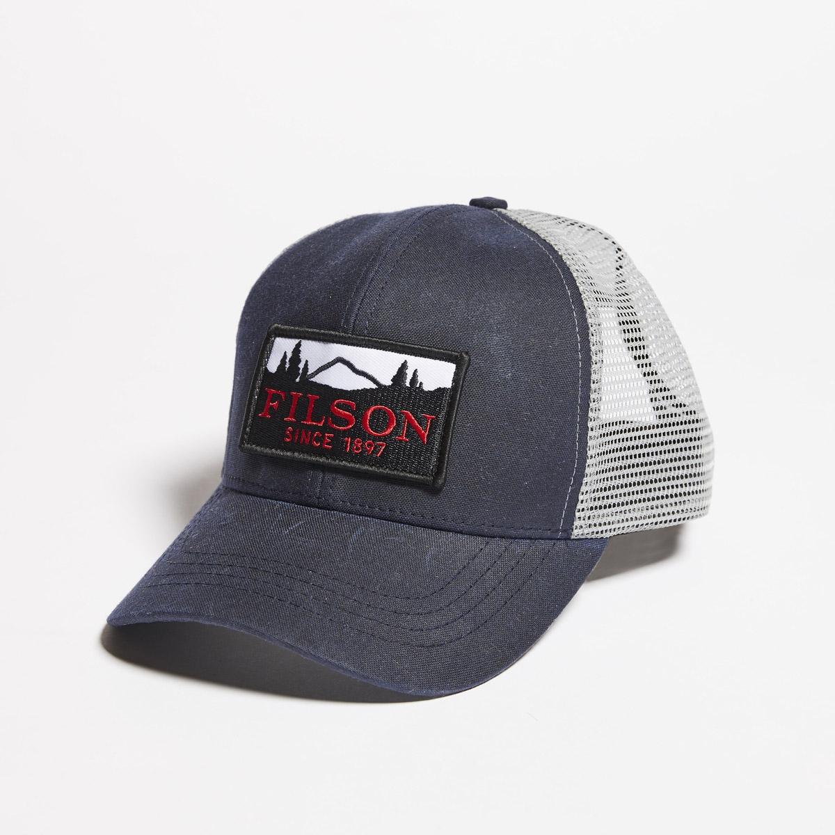 Filson Mesh Logger Cap 20157135-Navy, slijtvaste pet met geborduurd Filson logo patch en mesh-bescherming