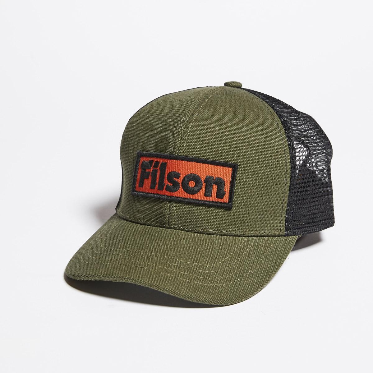 Filson Mesh Logger Cap 20157137-Olive, slijtvaste pet met geborduurd Filson logo patch en mesh-bescherming