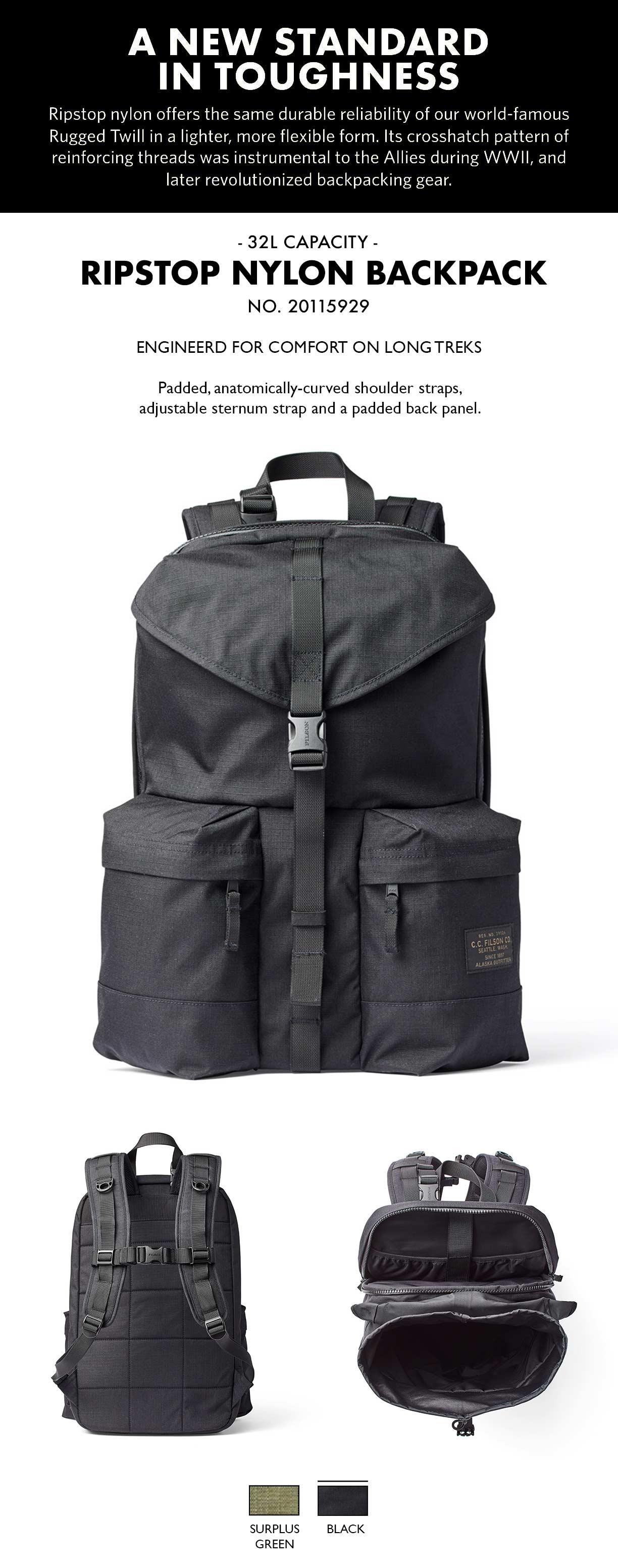 Filson Ripstop Backpack Black Product-informatie