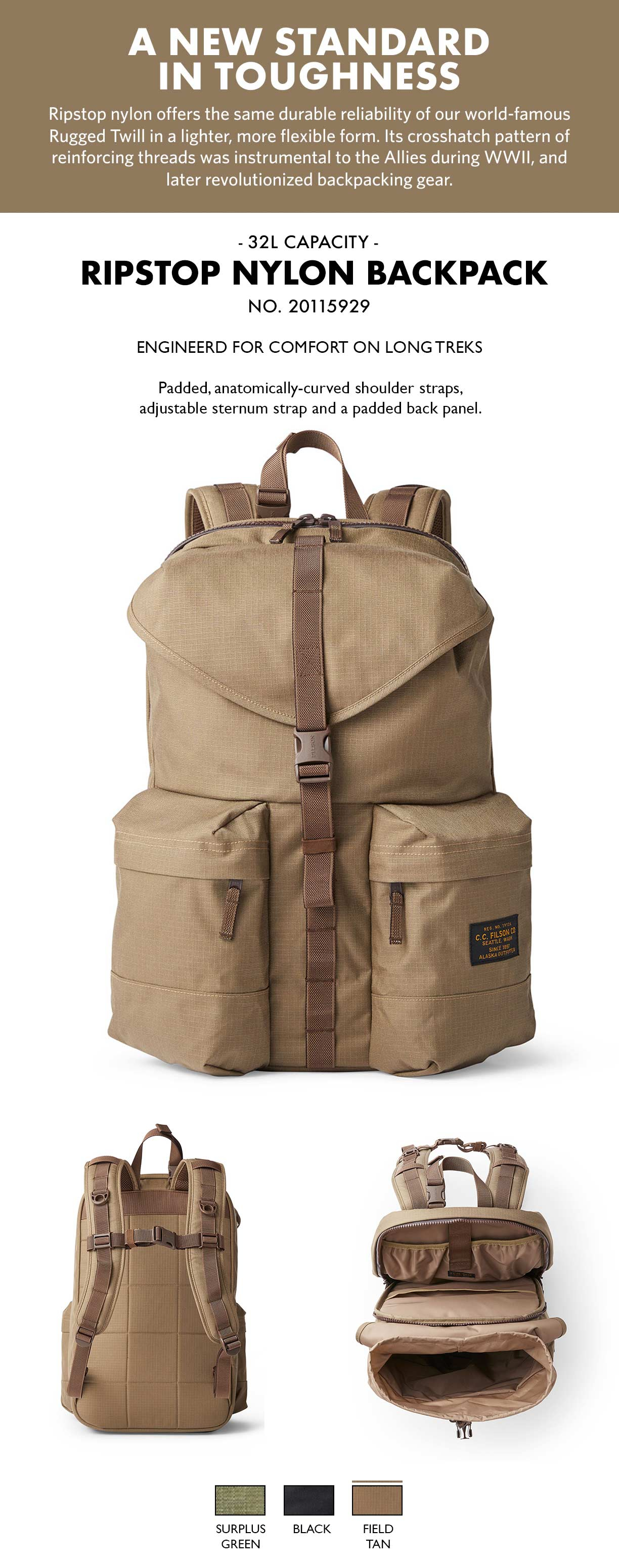 Filson Ripstop Backpack Field Tan Product-informatie