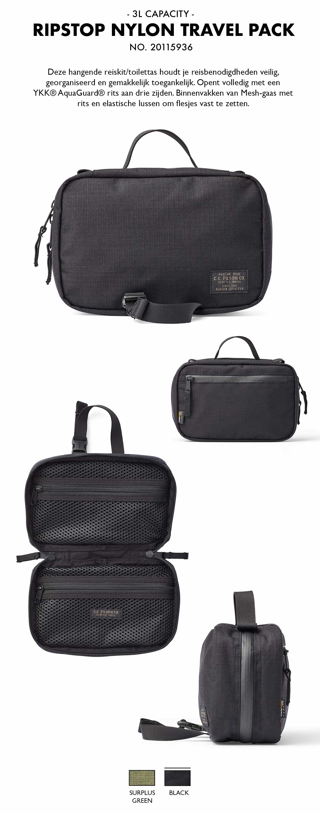 Filson Ripstop Nylon Travel Pack Black Product-informatie