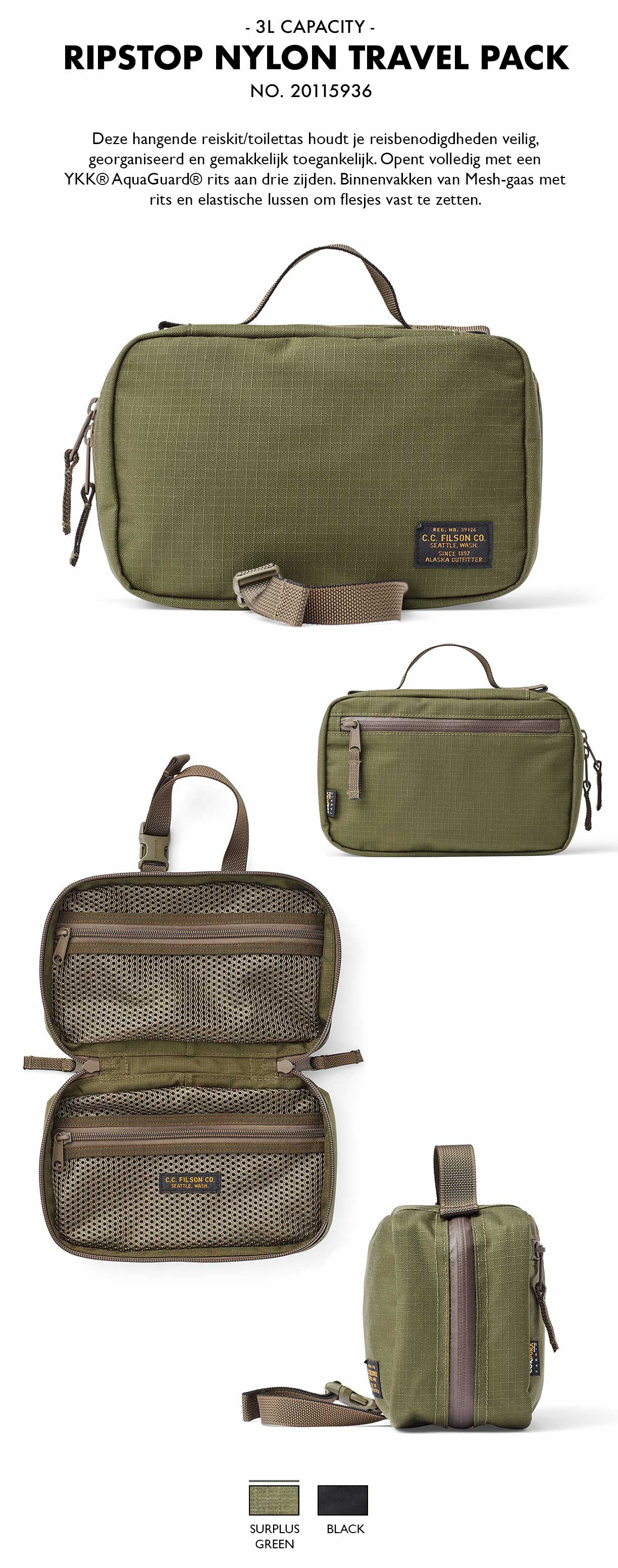 Filson Ripstop Nylon Travel Pack Surplus Green Product-informatie