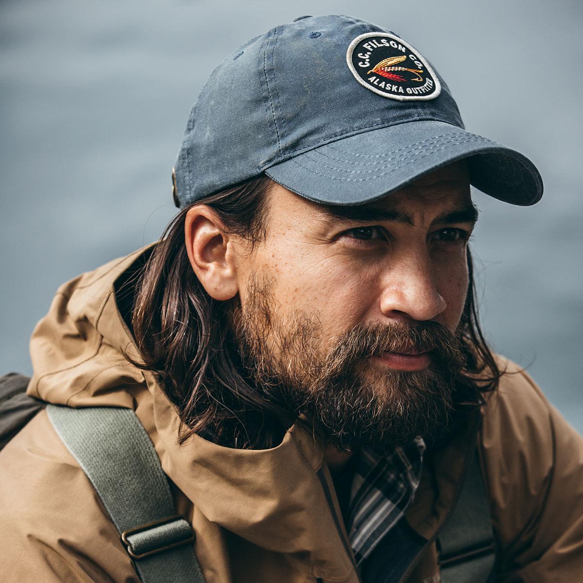 Filson Sail Cloth Low-Profile Cap Slate, cap met een laag, rond profiel