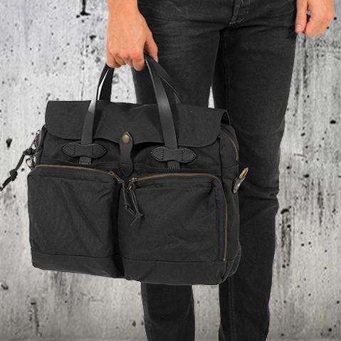 Filson 24-Hour Tin Briefcase Black, perfecte tas voor een weekend weg