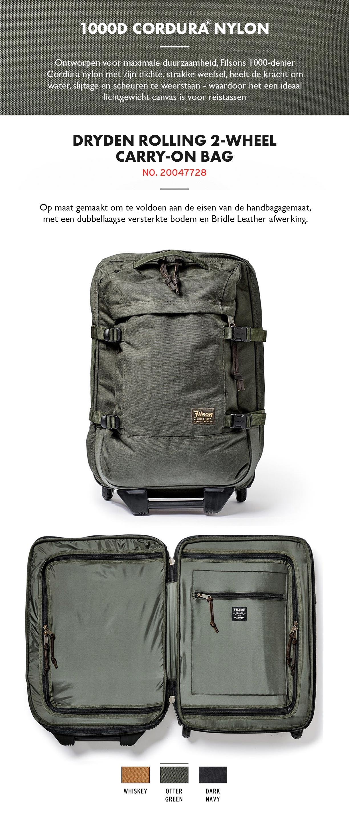 Filson Dryden 2-Wheel Rolling Carry-On Bag Otter Green Productinformatie