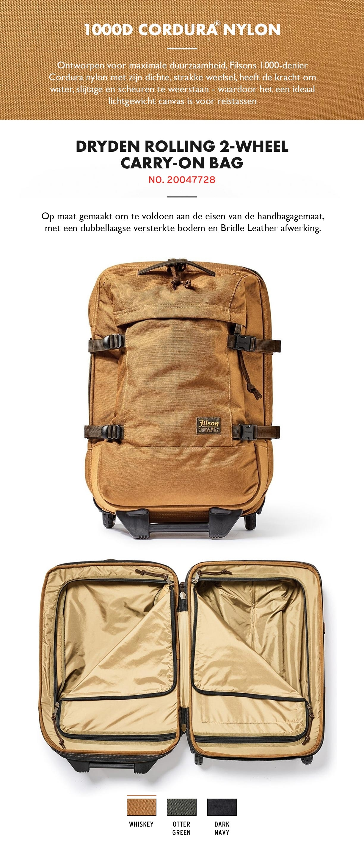 Filson Dryden 2-Wheel Rolling Carry-On Bag Whiskey Productinformatie
