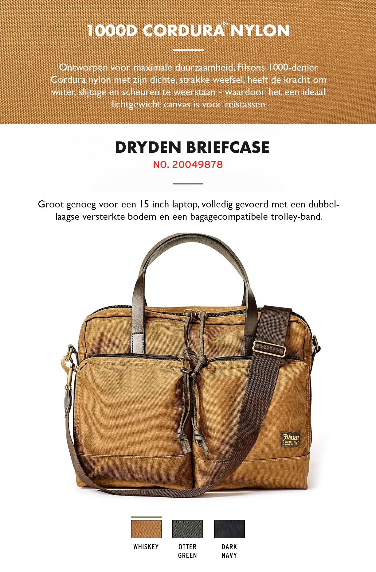 Filson Dryden Briefcase Whiskey Product-informatie