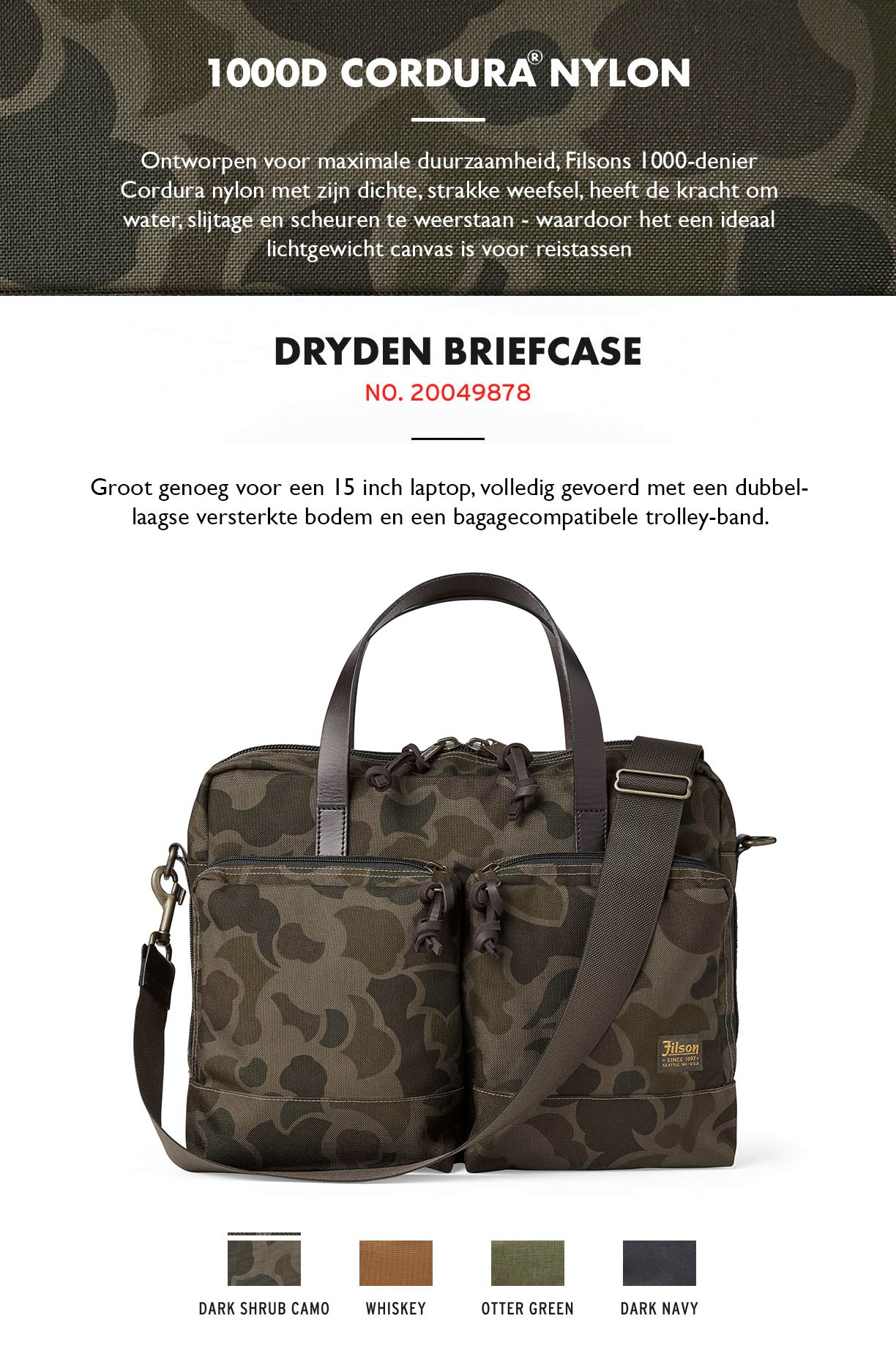 Filson Dryden Briefcase Dark Shrub Camo Product-information