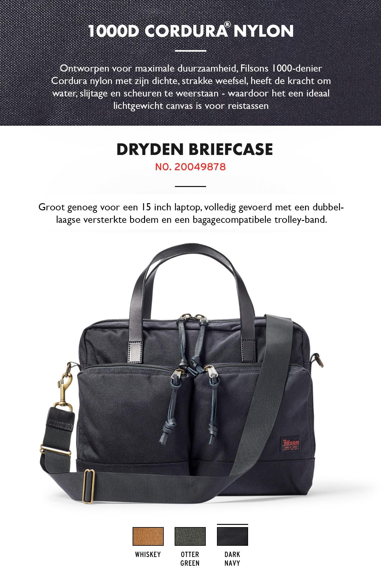Filson Dryden Briefcase Dark Navy Product-informatie