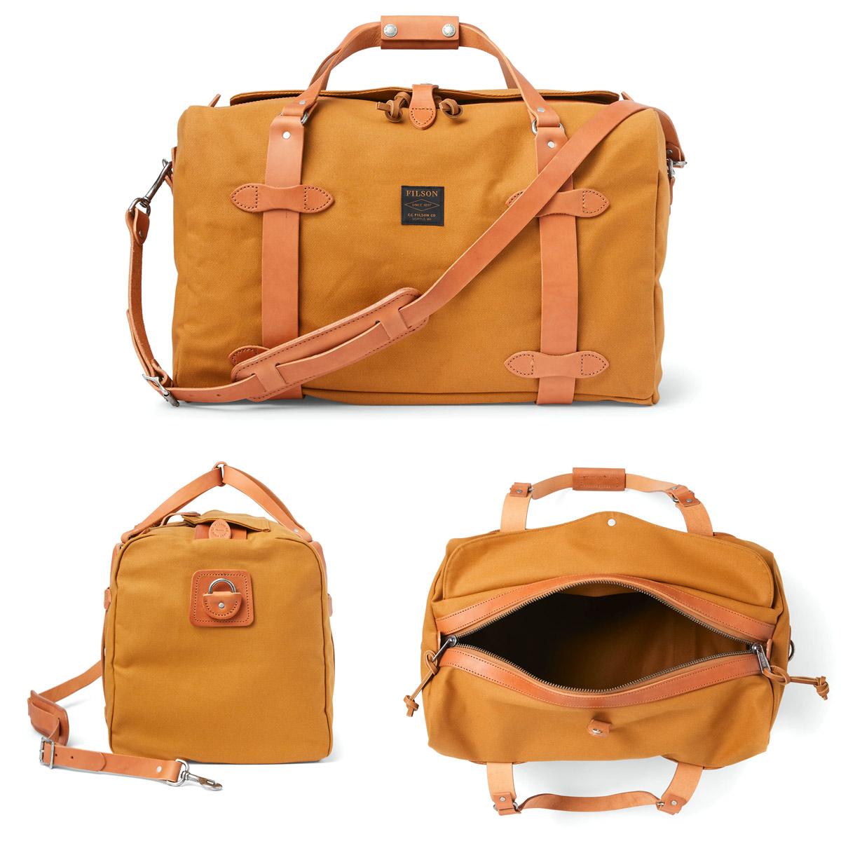 Filson Duffle Medium Chessie Tan, stoere duffel die voldoet aan de maximale handbagage afmetingen