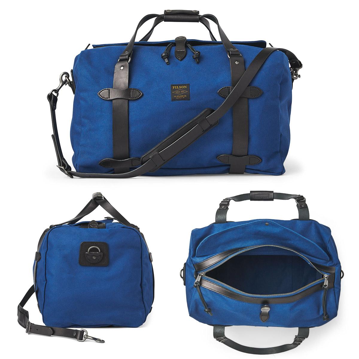 Filson Duffle Medium Flag Blue, stoere duffel die voldoet aan de maximale handbagage afmetingen