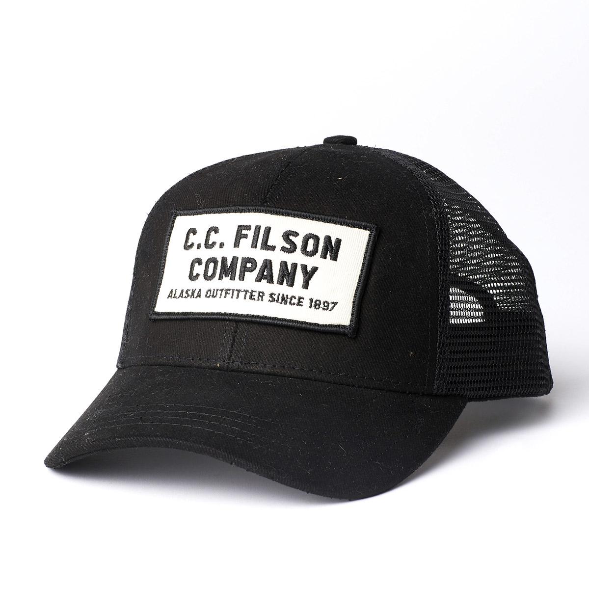 Filson Mesh Snap-Back Logger Cap 20172157 Black, slijtvaste pet met geborduurd Filson logo patch en mesh-bescherming