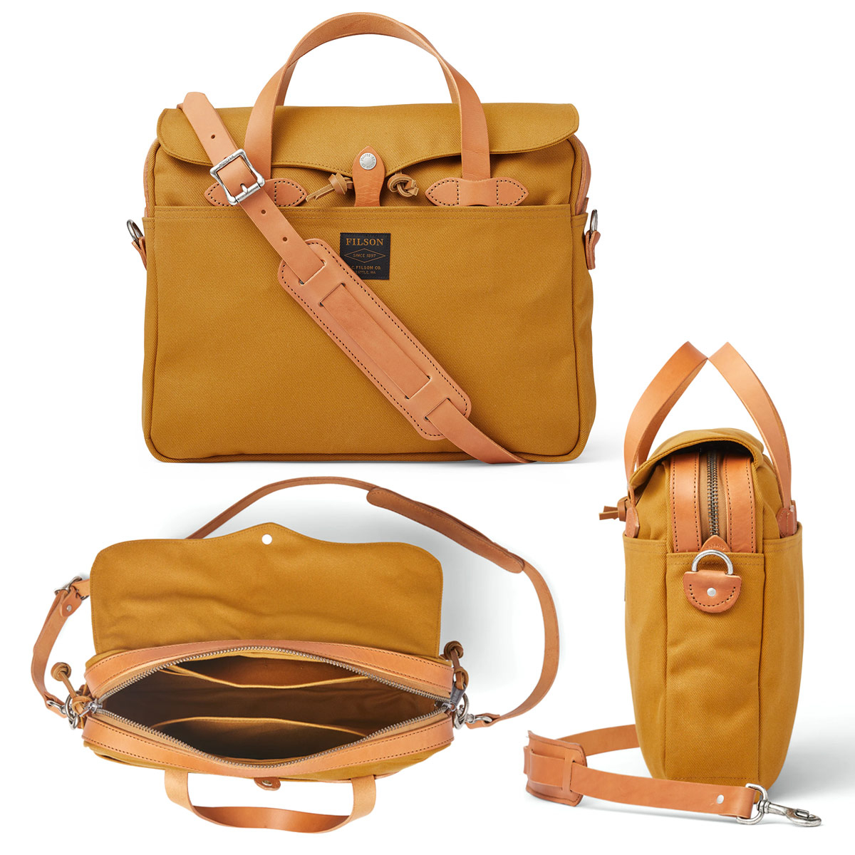 Filson Original Briefcase Chessie Tan, past goed in een urban omgeving