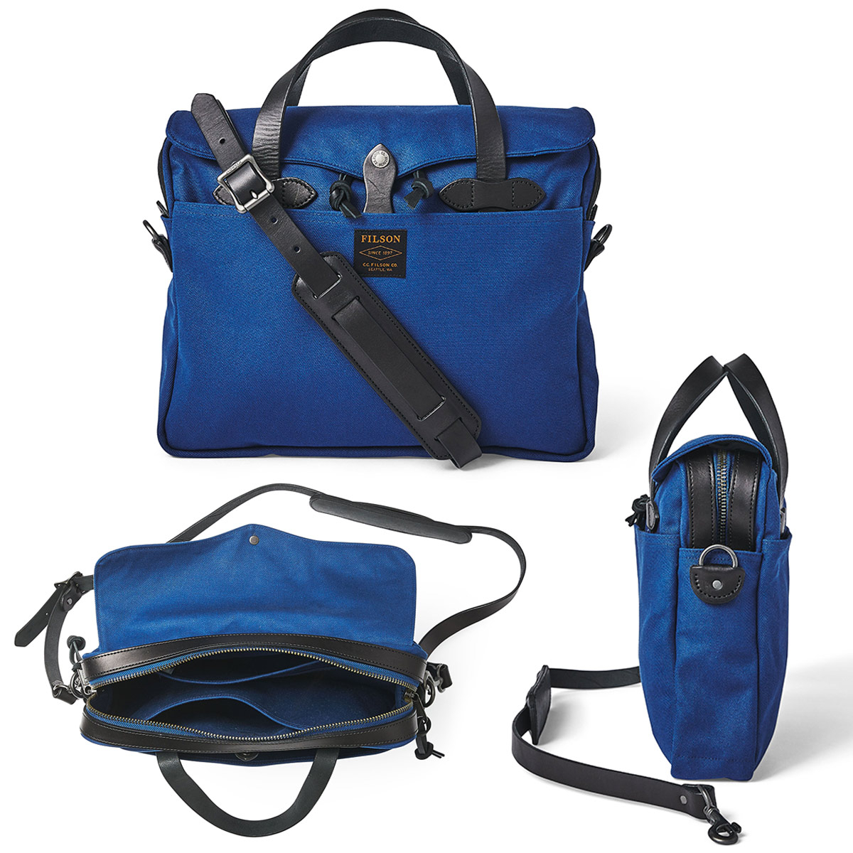 Filson Original Briefcase Flag Blue, past goed in een urban omgeving