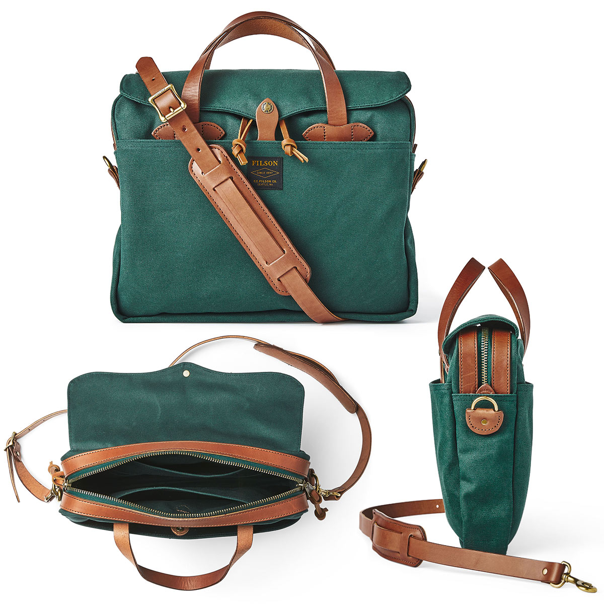 Filson Original Briefcase Hemlock, past goed in een urban omgeving