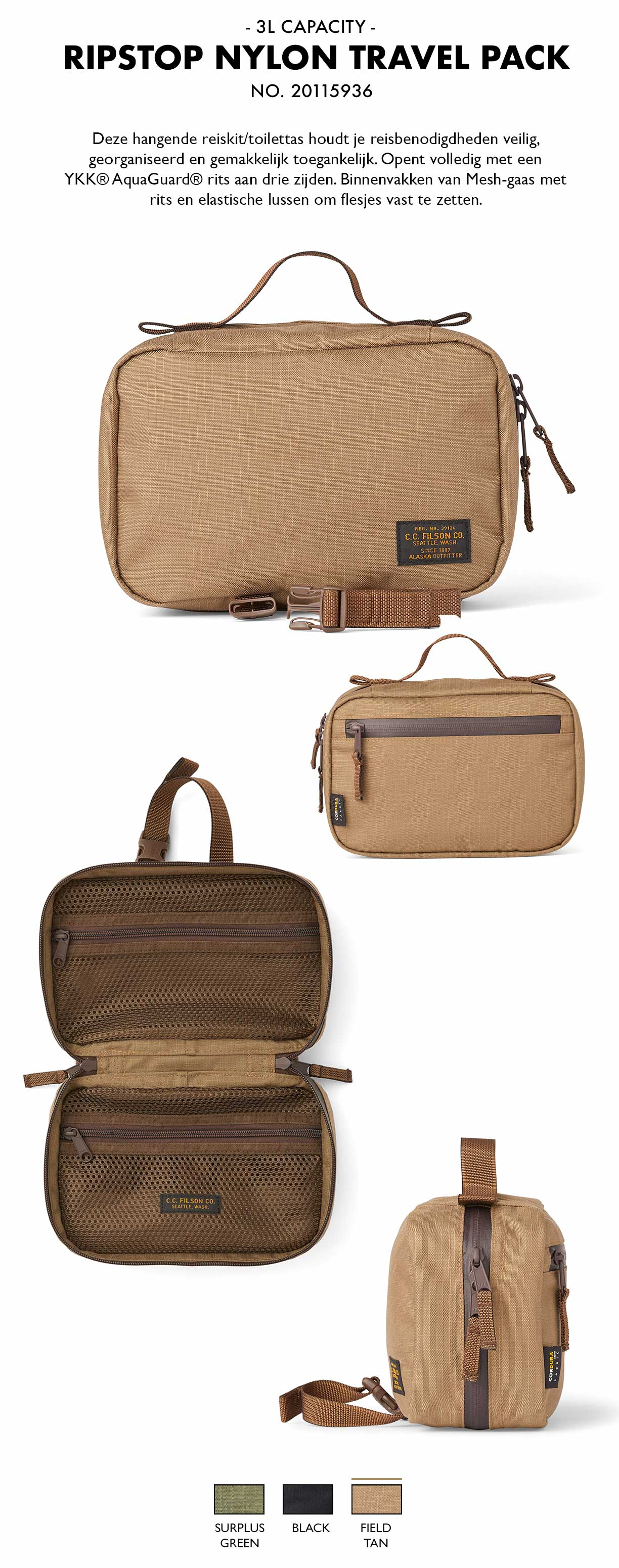 Filson Ripstop Nylon Travel Pack Field Tan Product-informatie