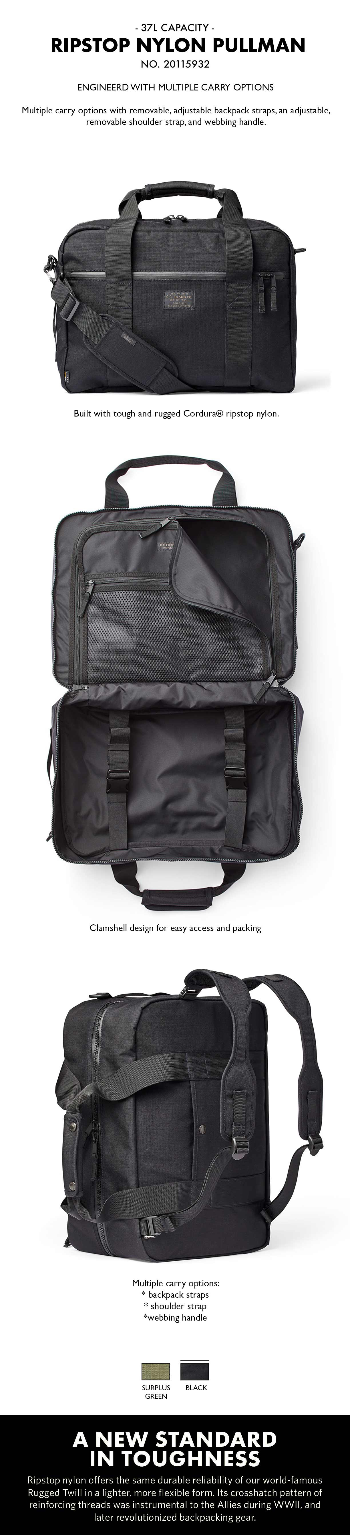 Ripstop Nylon Pullman 20115932-Black Product-information