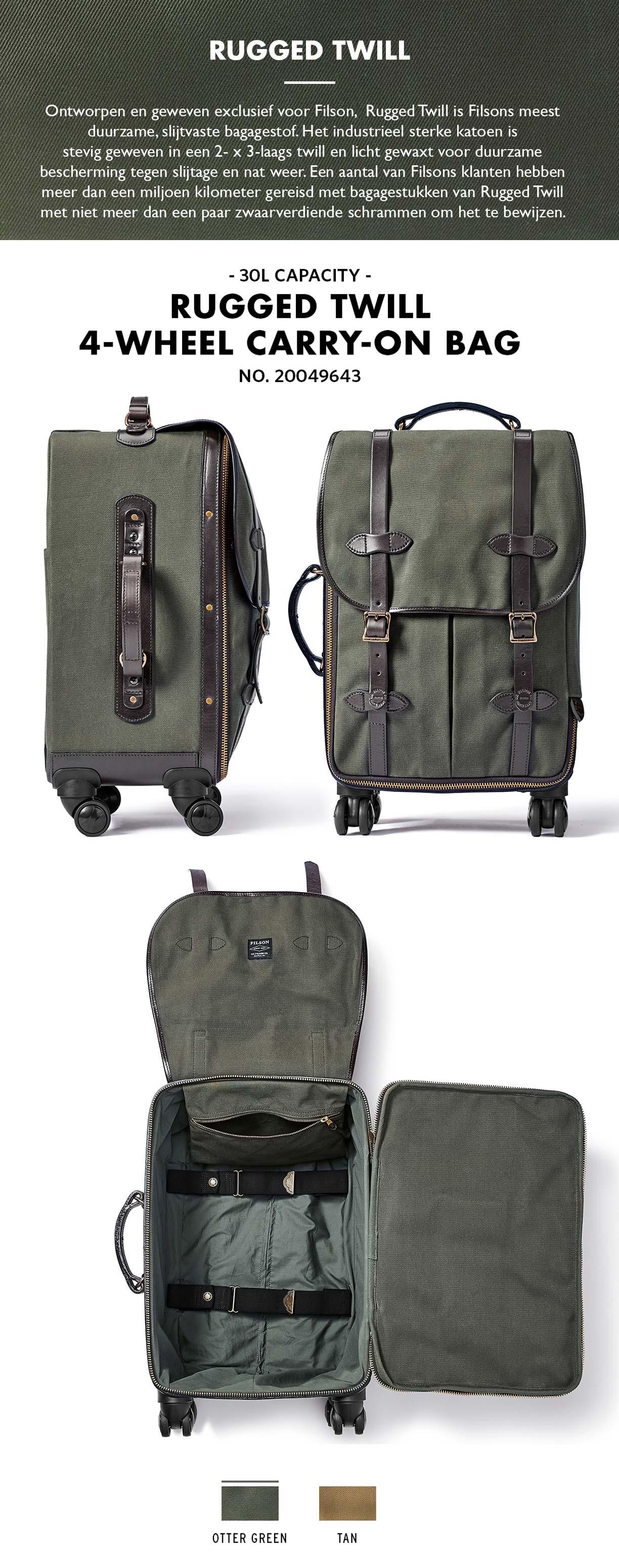 Filson Rolling 4-Wheel Rolling Carry-On Bag Tan Product-informatie