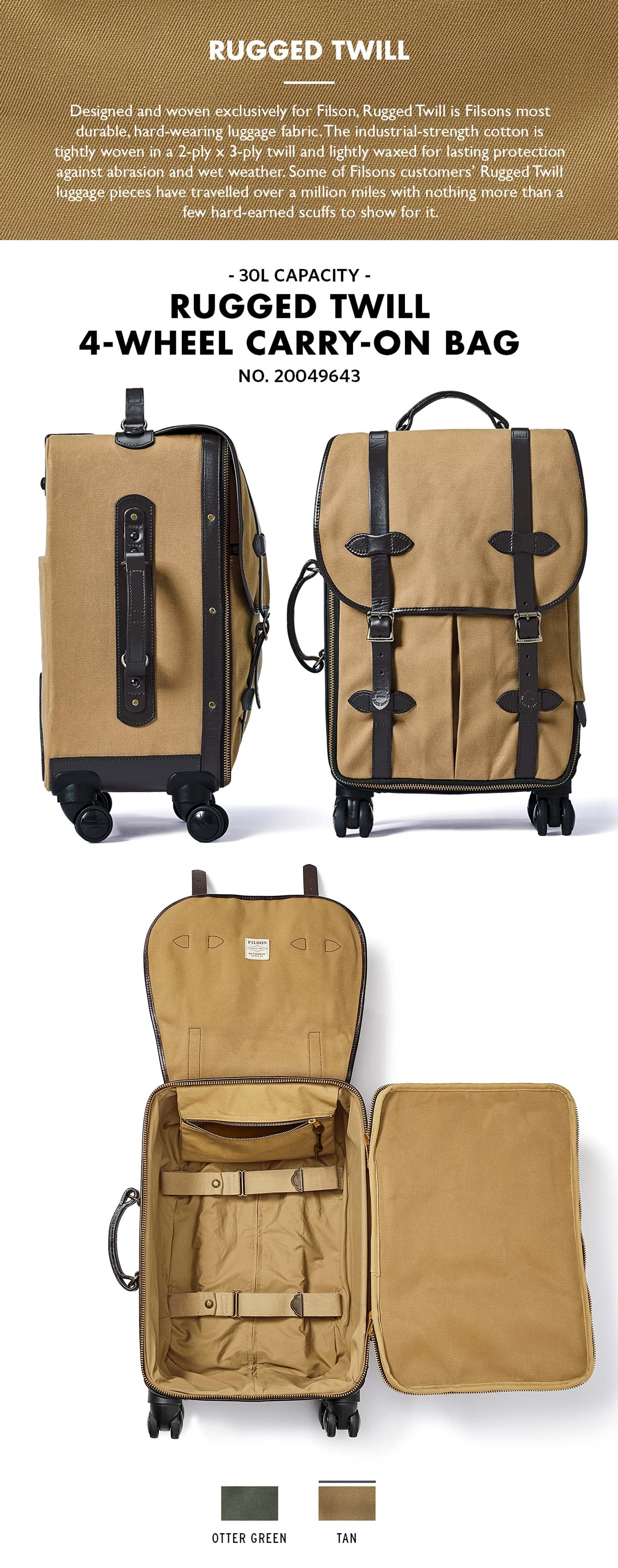 Filson Rolling 4-Wheel Rolling Carry-On Bag Tan Product-information