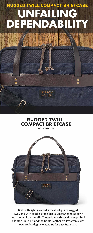 Filson Compact Briefcase Navy, slanke aktetas. Zeer goed gemaakt en mooi gedetailleerd