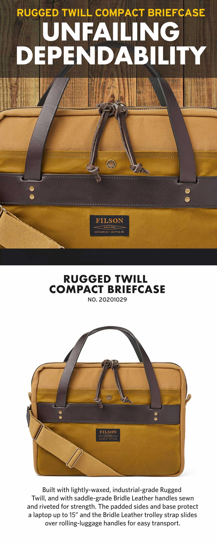 Filson Compact Briefcase Tan, slanke aktetas. Zeer goed gemaakt en mooi gedetailleerd