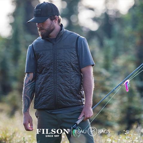 Filson Ultra Light Vest Raven, Ultralight PrimaLoft® Gold 60g jas met uitzonderlijke warmte-gewichtsverhouding