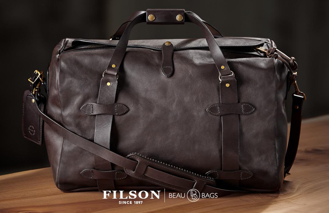 Filson Weatherproof Duffle-Medium Leather, stijlvolle duffle met levenslange garantie