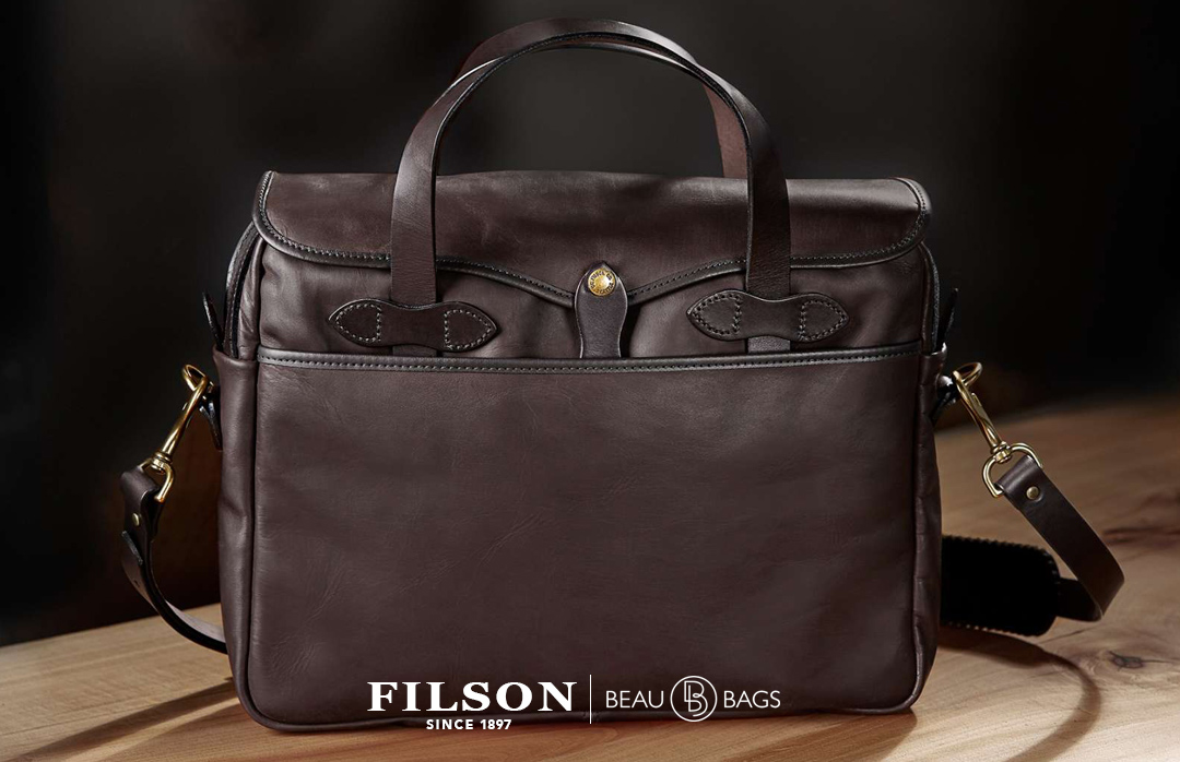Filson Weatherproof Original Briefcase Leather, Iconic Bridle Leather Briefcase