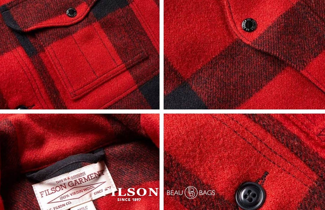 Filson Mackinaw Wool Cruiser Red-Black Plaid