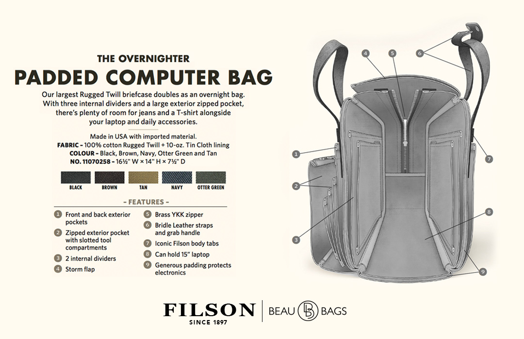Filson Padded Computer Bag 11070258 Black explanation