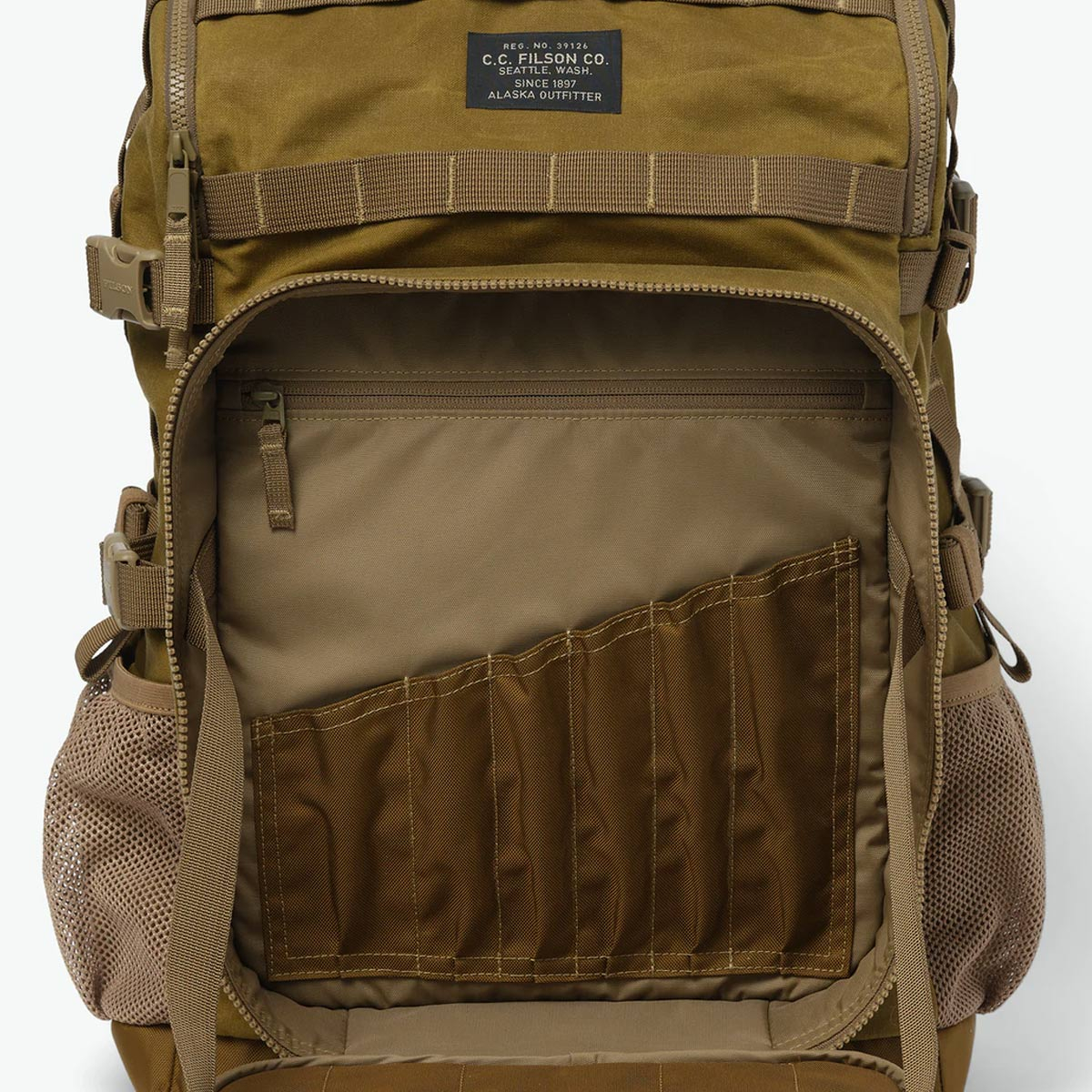 Filson Alcan Tin Cloth Tool Backpack 20167379-Dark Tan, backpack with a large, structured front pocket with internal slots for various-sized tools