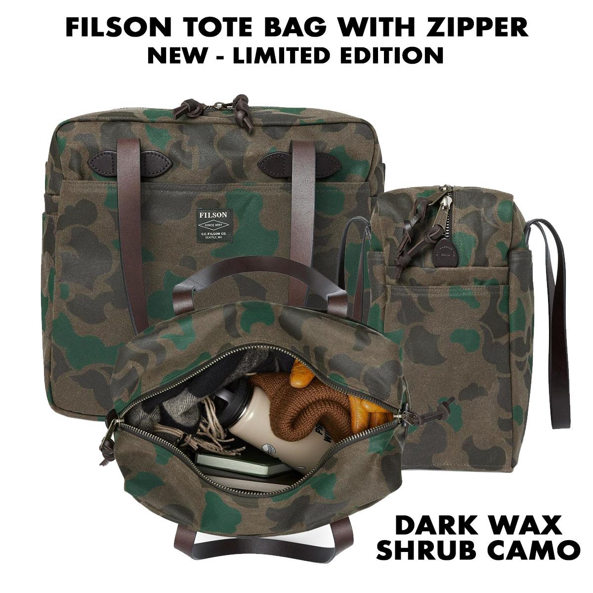 Filson Waxed Tote Bag with Zipper Dark Wax Shrub Camo, legendarische Tote Bag, handig voor shoppen
