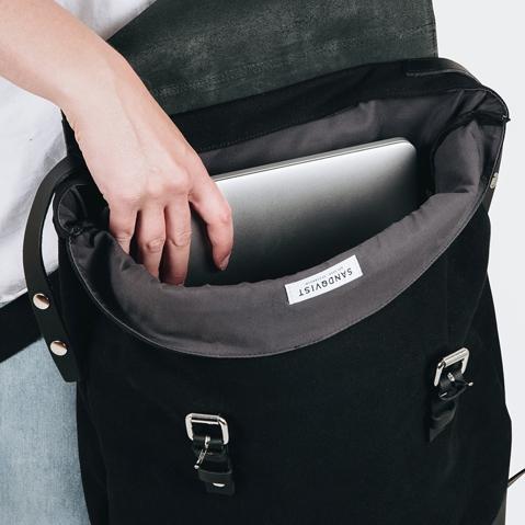 Sandqvist Hege Backpack Black, 15 inch ruime unisex rugzak met een geraffineerd design