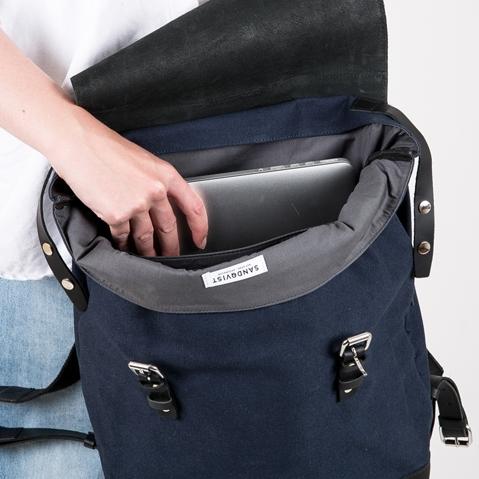 Sandqvist Hege Backpack Blue, 15 inch ruime unisex rugzak met een geraffineerd design