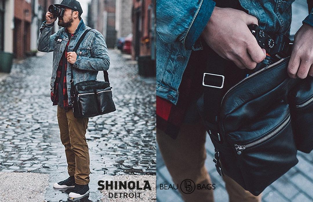 Shinola Zip Top Messenger Black, geweldige messenger bag voor dagelijks gebruik