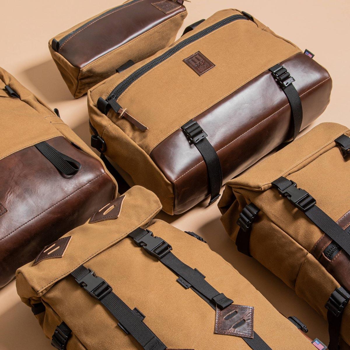 Topo Designs Commuter Briefcase Heritage Dark Khaki Canvas/Dark Brown Leather, aktetas, schoudertas en rugzak in één