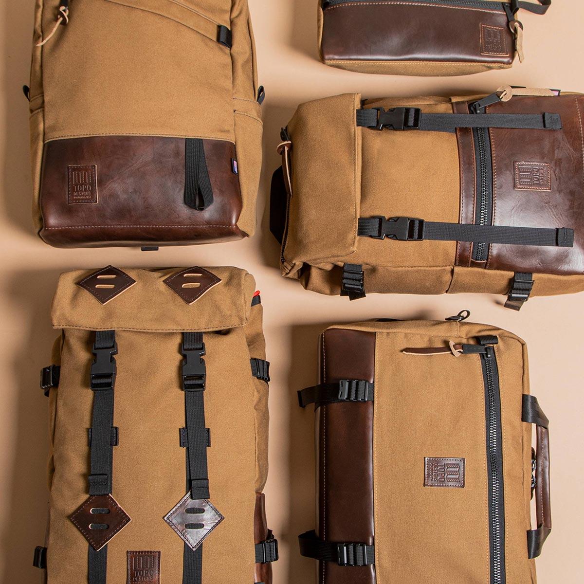 Topo Designs Klettersack Heritage Dark Khaki Canvas/Dark Brown Leather, ideale rugzak voor reizen, citytrip, wandelen of andere outdoor activiteiten