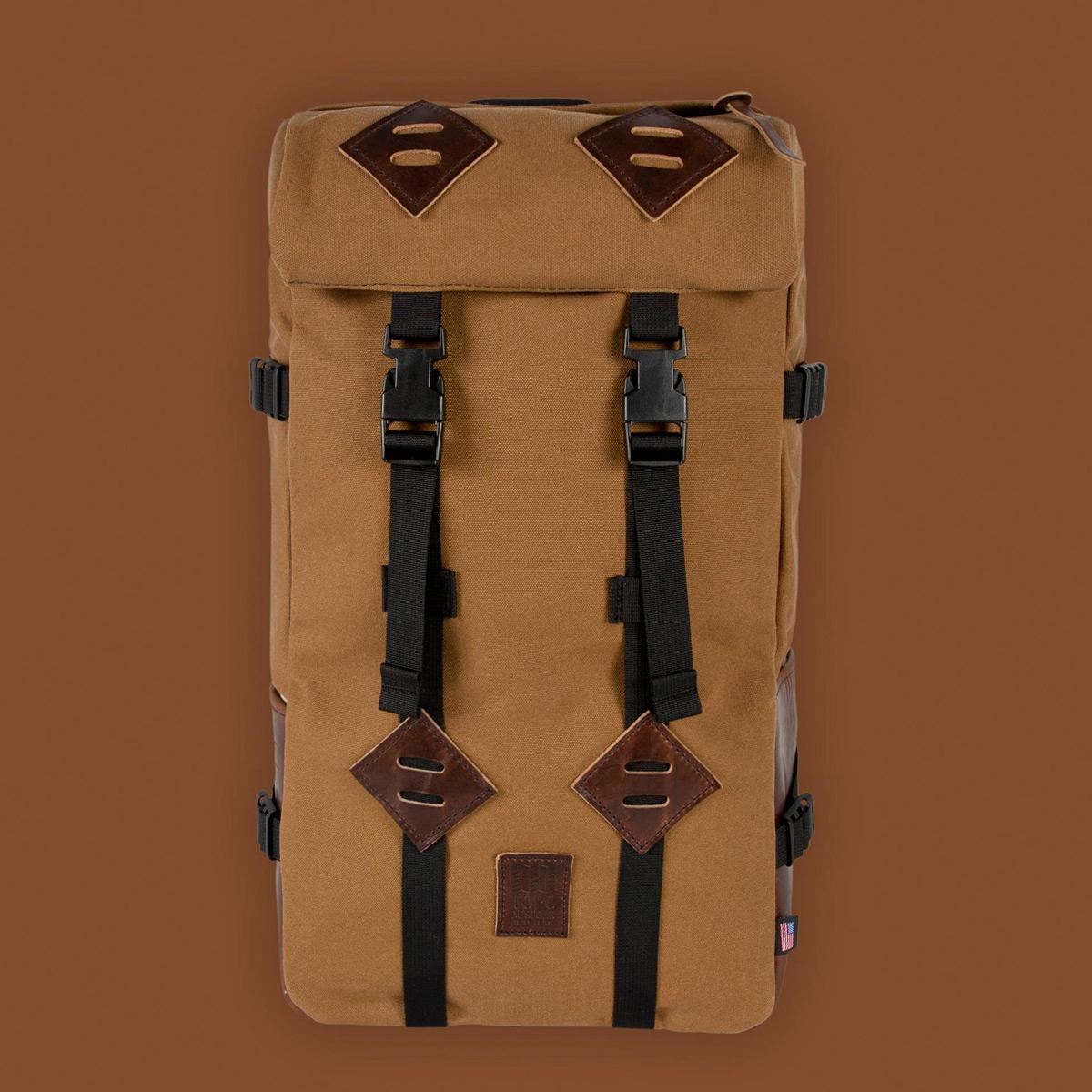 Topo Designs Klettersack Heritage Dark Khaki Canvas/Dark Brown Leather, prachtige rugzak voor mannen en vrouwen